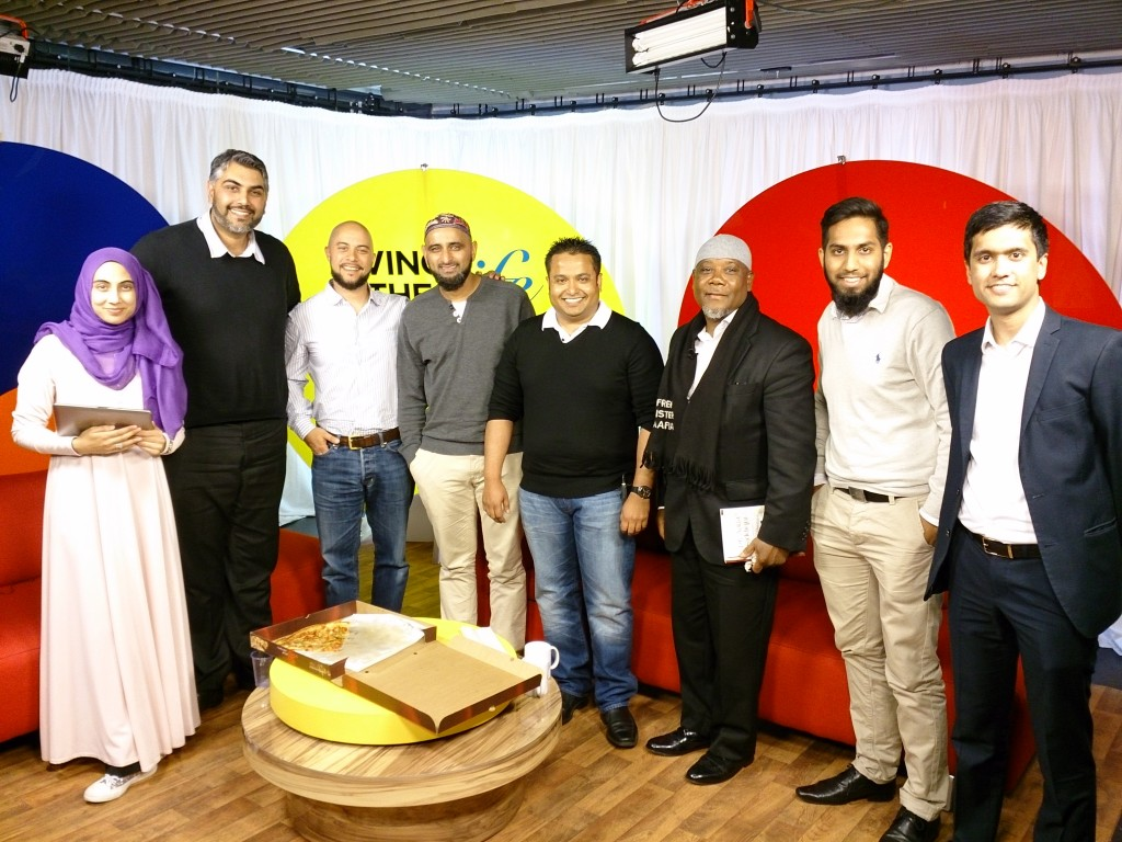 Ibrahim Rahman (far-right) and Raza Amode (second from right) on Islam Channel's Living the Life