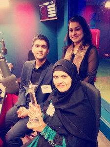 Ibrahim in the BBC Asian Network studio with Shahida Rahman and Dilara Khan